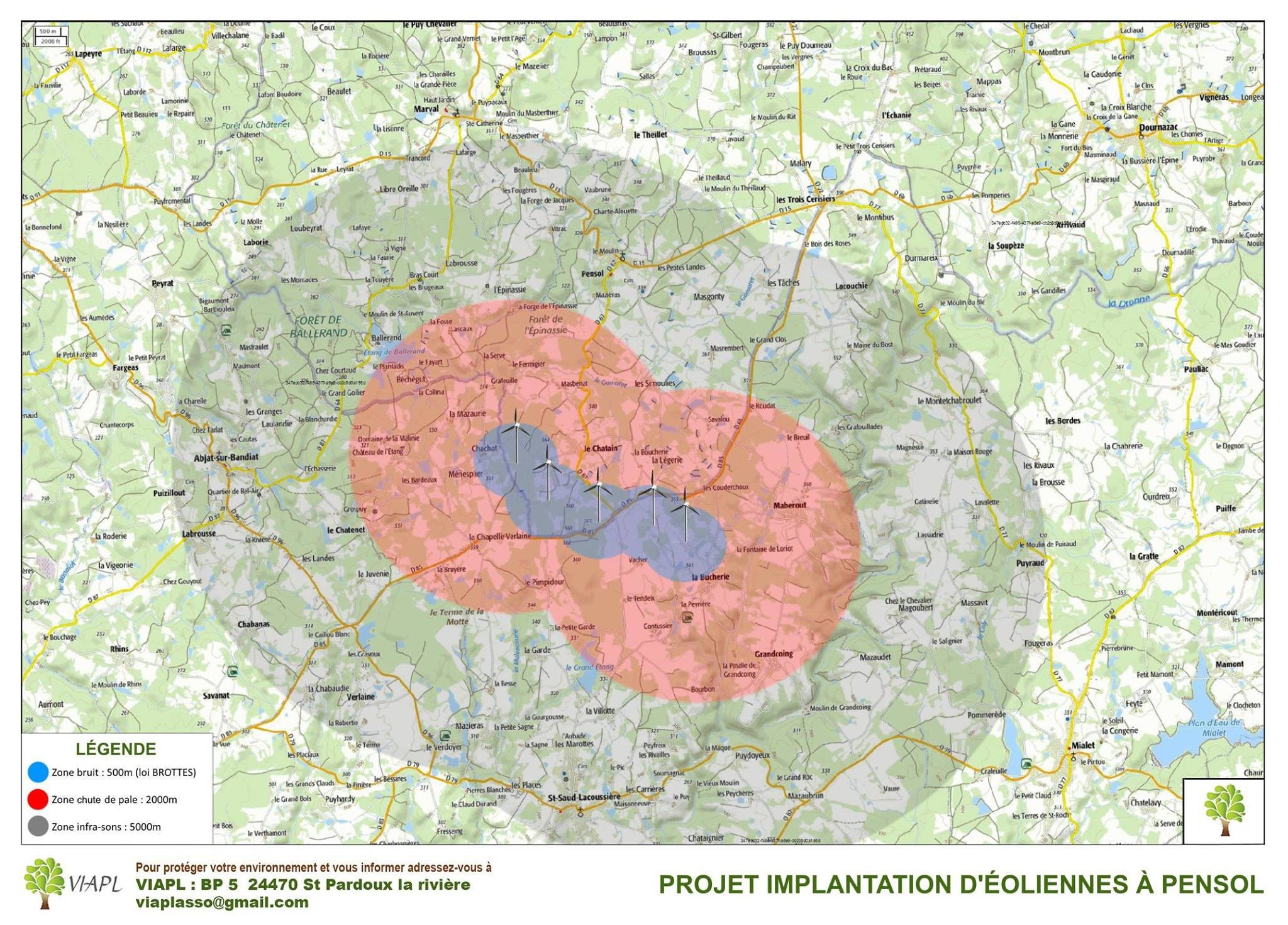 carte implantation éolienne pensol