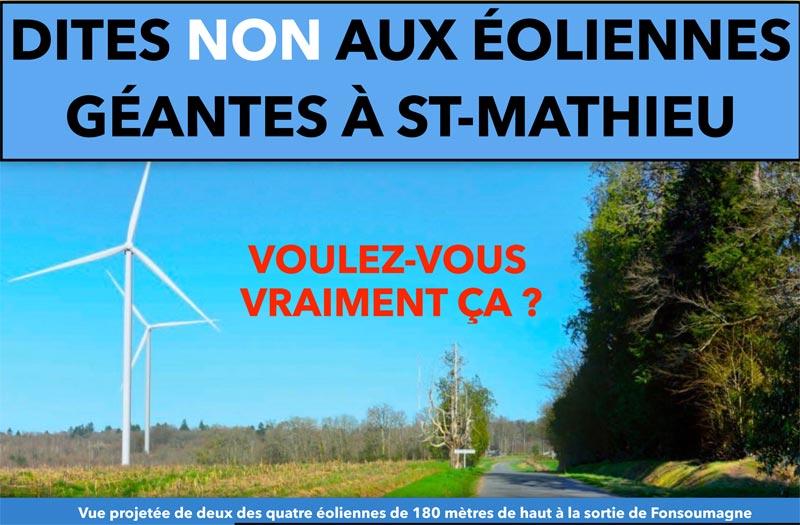 Non aux éoliennes à Saint Mathieu